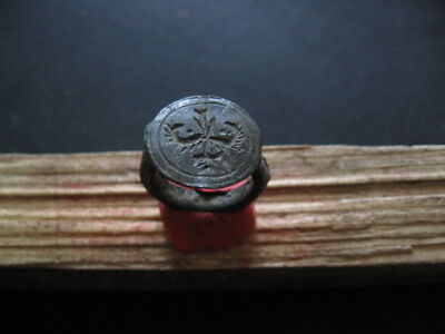 2 Dragon Heads Ancient Celtic Engraved Bronze Seal Finger Ring 200-50 B.c.