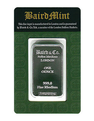 1 OZ BAIRD & CO MINT 999.0 FINE RHODIUM ONE OUNCE BAR - Brand New Sealed Card