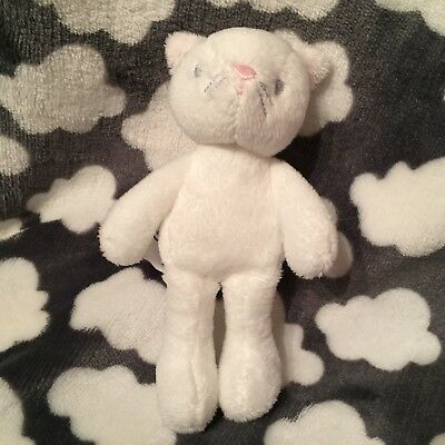 NEW THE LITTLE WHITE COMPANY KATY KITTEN CAT RATTLE SOFT TOY PLUSH 15cm TALL