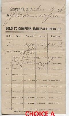 1891 Cowpens South Carolina Manufacturing Company Advertising Sales Bill Receipt