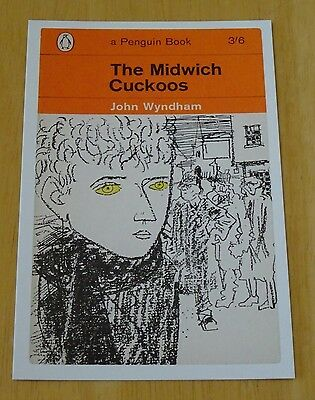Penguin Sci-Fi Book Cover Postcard  'the Midwich Cuckoos' By John Wyndam ~ New