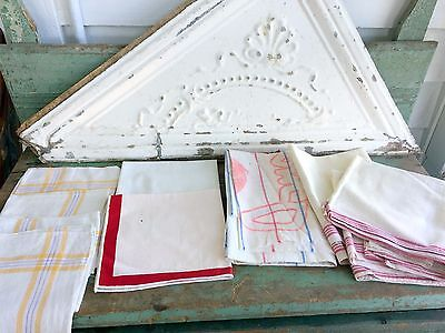 Antique vintage 8 Lot Linen Cotton Towels Red Stripe Feed Sack Yellow Stripe