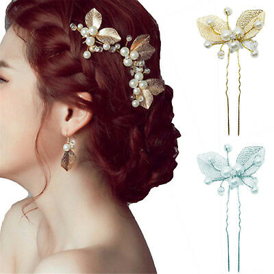 Wedding Hair Pins Bridal Accessories Pearl Leaf Metal Clips Combs Slides  Newest