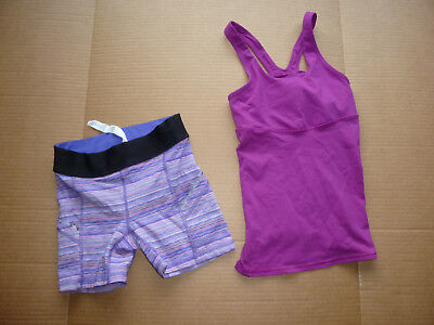 EXCELLENT! Lululemon Girls Top/Bottom Outfit Sz 2 PURPLE Multicolored