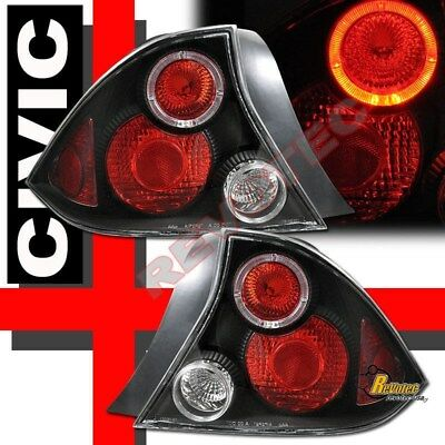 Black Halo Tail Lights For 01 02 03 Honda Civic LX DX EX HX 2-Door Coupe