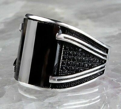 Turkish 925 Sterling Silver Special black onyx stone mens mans ring ALL SİZE us