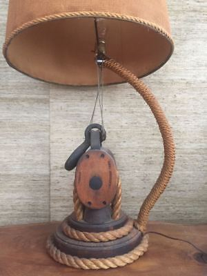 vintage 1950s New Bedford Massachusetts nautical whaling rope pulley lamp