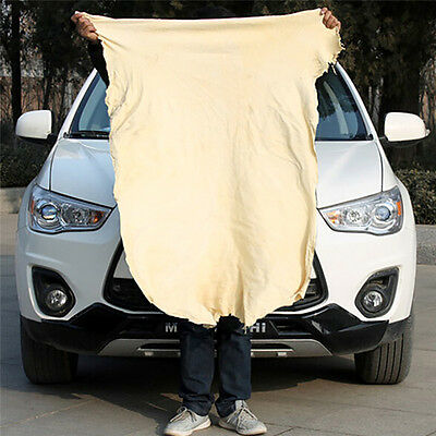 Natural Chamois Leather Car Cleaning Cloth Washing Absorbent Drying Towel New #.