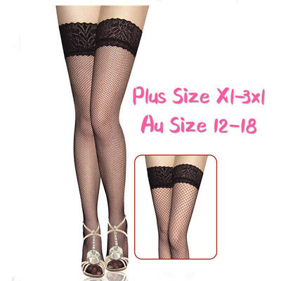Leg Stockings Pull Up  Black Sheer Fishnet Nylon Lace Floral Top Band Plus Size