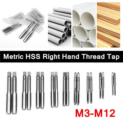 2Pcs M3 to M12 Industrial Metric HSS Right Hand Thread Tap Plug Taps Drill Bits