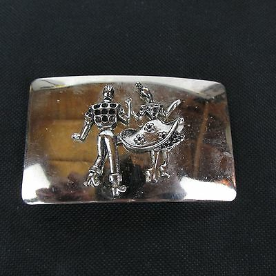 Vintage Rockabilly Square Swing Dancing Belt Buckle Made in USA Silver Toned