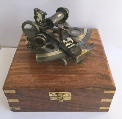 Collectibles Vintage Brass Sextant Nautical Instrument Maritime Reproduction