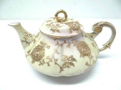 Signed Japanese Porcelain Painted Gold Fine Teapot Tea Pot Old Used Kitchen