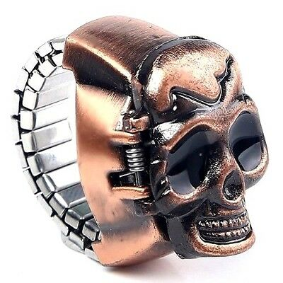Very Unusual Classic SKULL Quartz Ring Watch With Flexible Fit All Band