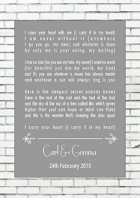 I CARRY YOUR HEART WITH ME – E E CUMMINGS Reading Wedding Personalised Print A4
