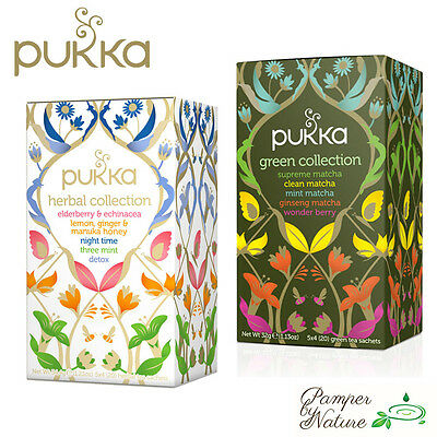 Pukka Tea Collections - Herbal or Green Tea Collection - 20 teabags per box