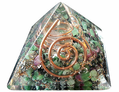 Ruby Zoisite Crystal Pyramid Natural Stone Healing Feng Shui Home Ornament