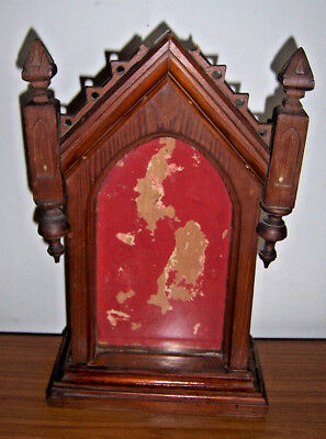 Vintage Pitch Pine Mantel Clock Case W/f
