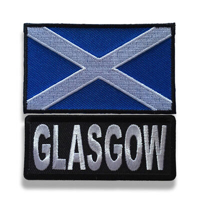 "Embroidered 3"" Glasgow With Scotland Flag Sew or Iron on Patch Biker Patch Set"