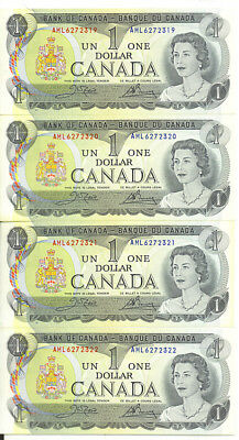 Bank of Canada 1973 $1 One Dollar Lot of 4 Consecutive Notes AML Prefix UNC