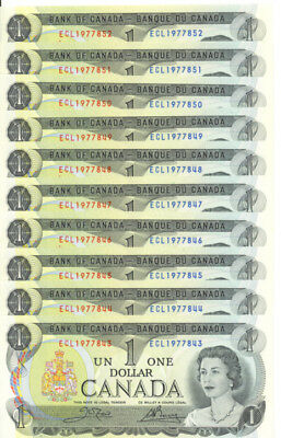 Bank of Canada 1973 $1 One Dollar Lot of 19 Consecutive Notes ECL Prefix UNC