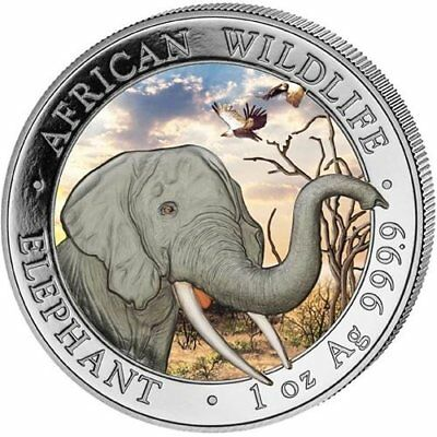 "OFFICIAL SOMALIA SILVER ELEPHANT ""DAY"" - 2018 1 oz Pure Silver Color Coin in Cap"