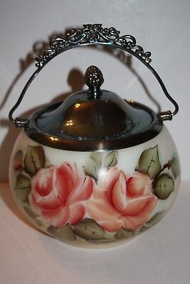 Beautiful Glass Biscuit Jar Hand Painted Roses Made in Canada