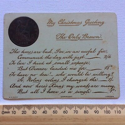 Antique Victorian Greeting Card 1887 HH&Co The Only Brown Hand Written Verse