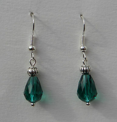 Small Faceted Sea Green Glass Drop Earrings With Silver Plated Detail ...hook