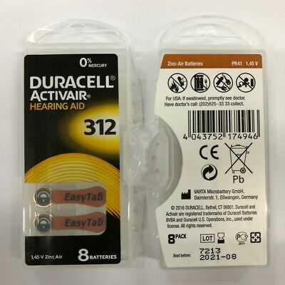 Fresh Lot 4 to 320 Duracell Activair Hearing Aid Batteries Size 312 Exp 08 2021