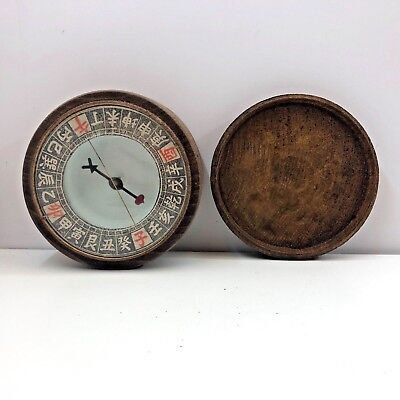 Authentic Vintage Chinese Vintage Wood Compass Wooden With Lid Rare Lovely Item