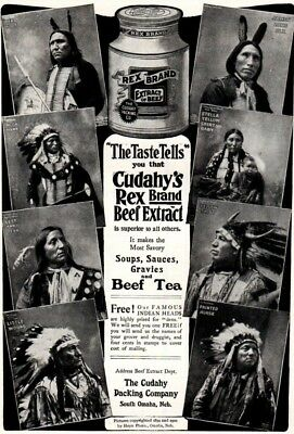 1903 ad Vintage Cudahy's Rex Brand Beef Indian Heads Native American Promo ad