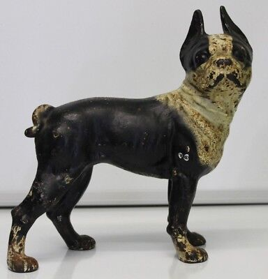 VTG Antique Cast Iron Hubley? Boston Terrier Dog Door Stop Decor