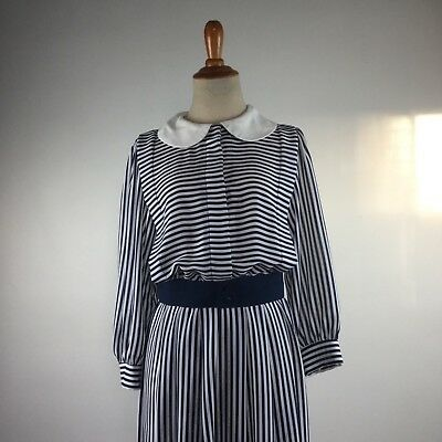 TRUE VINTAGE 1970s Does 1930s dress blue costume stripe small Peter Pan collar