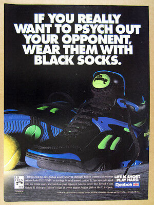 1991 Reebok Court Victory II Midnight Edition Pump Tennis Shoes vintage print Ad