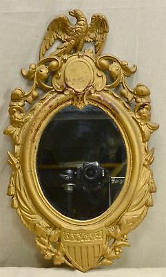 "Patented Nov. 25, 1862 GILT CAST IRON WALL 19 1/8"" MIRROR EAGLE & FEDERAL SHIELD"