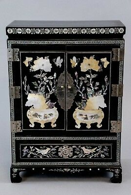 Vintage Chinese Inspired Elaborate Inlay & Lacquer Finish Jewelry Keepsake Chest