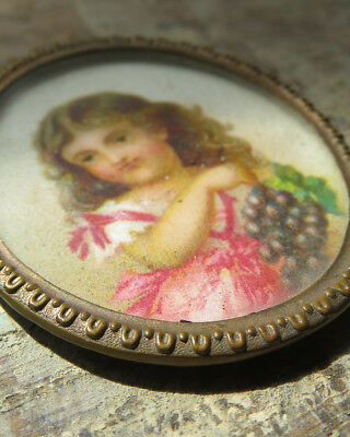 ANTIQUE Miniature Victorian OVAL Ornate Pin Mourning Memento? Frame Young Girl