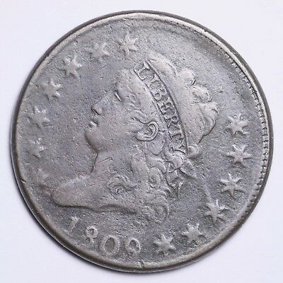 1809 Classic Head Large Cent CHOICE VF FREE SHIPPING E102 KEMT