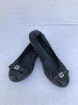 4a8d915db Tory Burch Eddie Logo Bow Ballet Flats Black Leather Snake Embossed size  6.5M