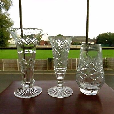x3 Crystal Cut Glass Vases Mismatched Wedding Shabby Chic Table Decoration