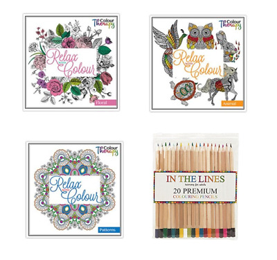 2x Anti-Stress Adult Relaxing Art Therapy Colouring Books + 20 Colouring Pencils