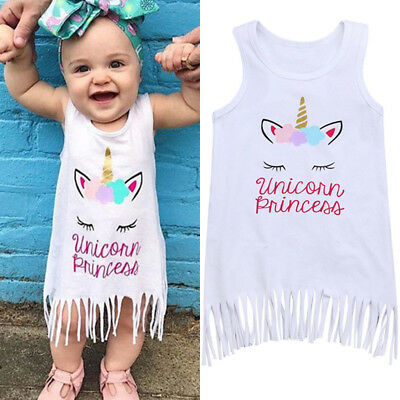 UK Stock Baby Kids Girls Cotton Sun Tops Summer Outfits Unicorn Dresses Clothes