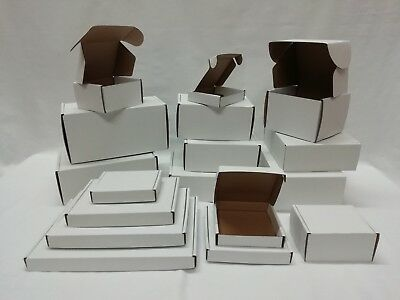 Single Wall Postal Cardboard Boxes, Small Mailing Shipping Cartons, White Outer