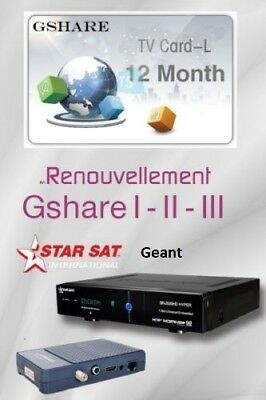 Rechargement 12 Mois serveur Gshare Starsat Geant Pinacle bware tiger