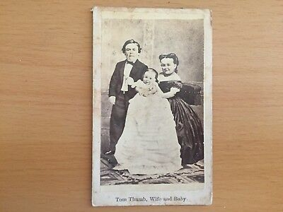 STRANGE VINTAGE CIRCUS FREAK ODDITY MIDGET: Tom Thumb and Wife Cabinet Card