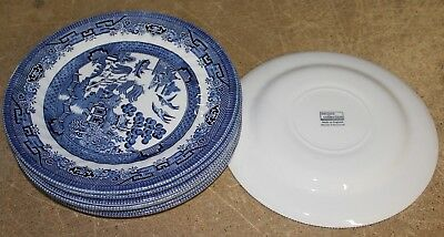 """8 Royal Wessex China Blue Willow Swirl Dinner Plates 10"""" England"""