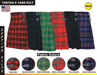 Men's Traditional Scottish Tartan 8 Yard Kilt 13oz Highland Casual Kilt 6 colors