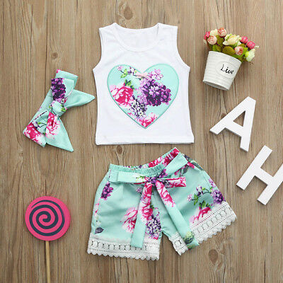 3pcs Toddler Newborn Baby Girls Floral Clothes Set Tops+Shorts+Headband Outfits