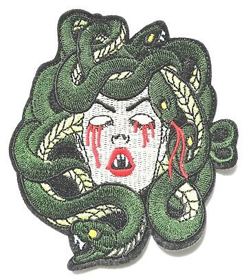 Medusa Snake Vampire Blood Cobra  Iron On Embroidered Patch Quality 4.25""